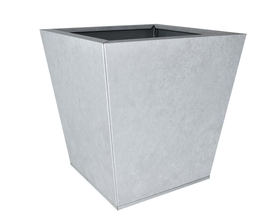 Birdies Flat-Pack pot Tapered 40 x 40 x 40cms - Metal Stone finish