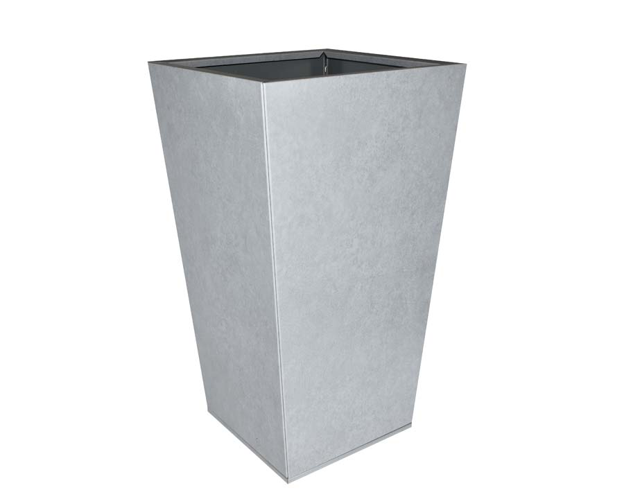 Birdies CBD Flat-Pack Pots, Tall Tapered 40 x 40 x 70cms Metal Stone finish