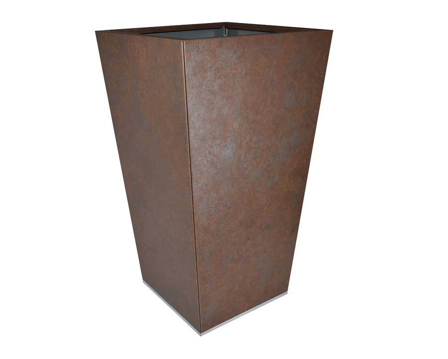 Birdies CBD Flat-Pack Pots, Tall Tapered 40 x 40 x 70cms Weathered Iron finish