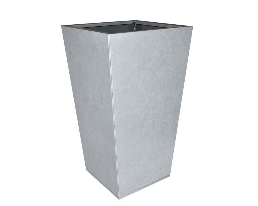 Birdies Flat-Pack Pots, Tall Tapered 40 x 40 x 70cms Metal Stone finish
