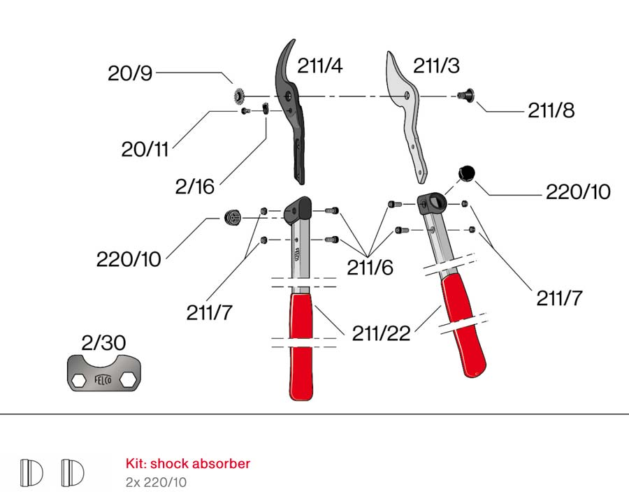 Felco211-40 mini loppers - available spare parts