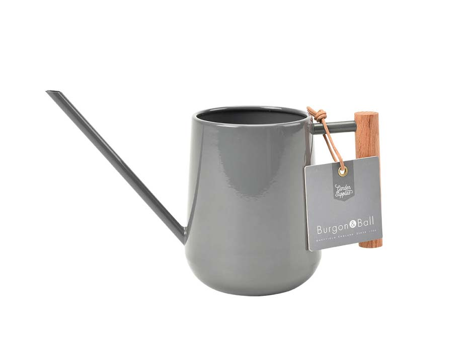 Indoor watering can in powder coated, charcoal coloured finish