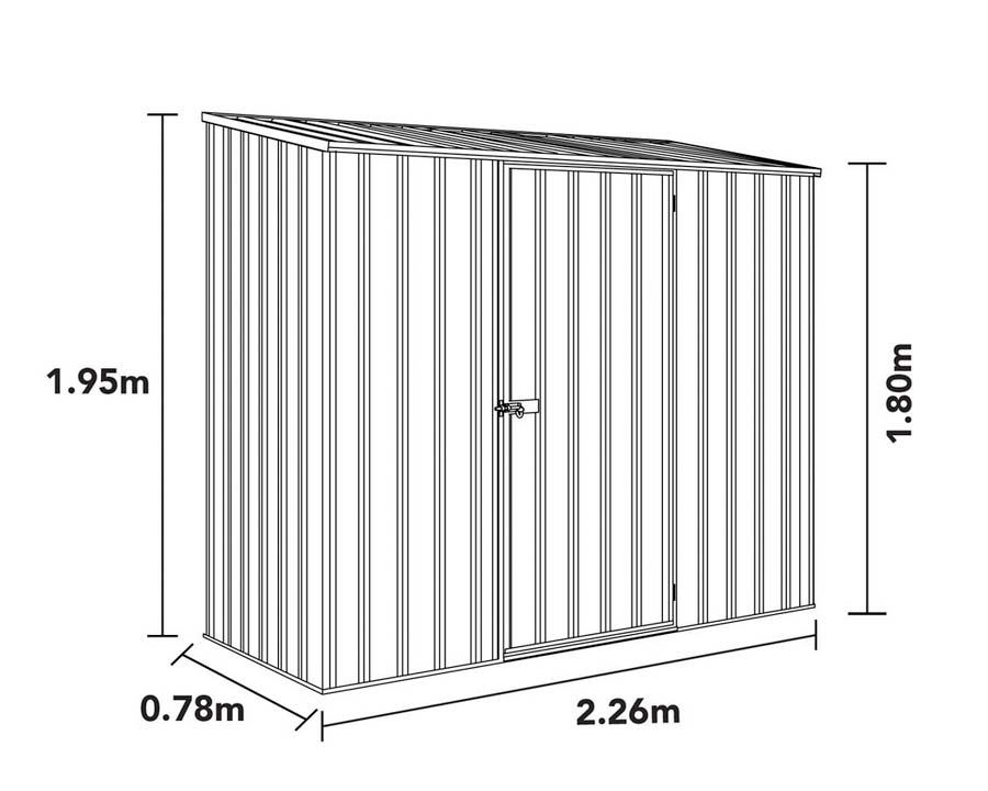 Dimensions of ABSCO Space Saver Shed 23081SK