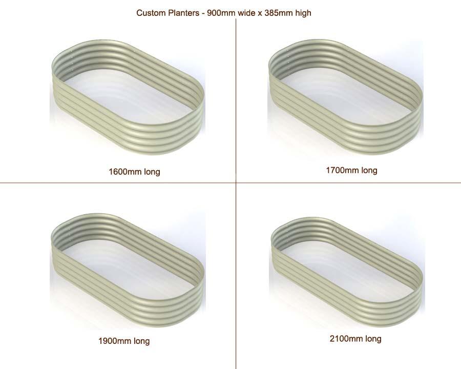 Custom Raised Beds 900mm wide x 385mm high - Mist Green - 1600, 1700, 1900, 2100mm long