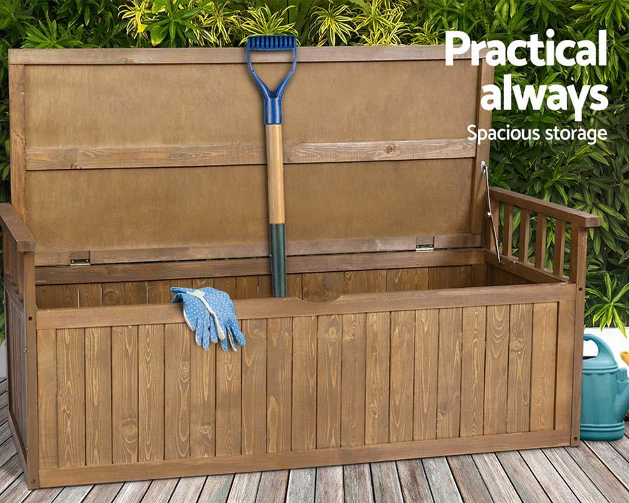 Outdoor wooden garden storage box / bench