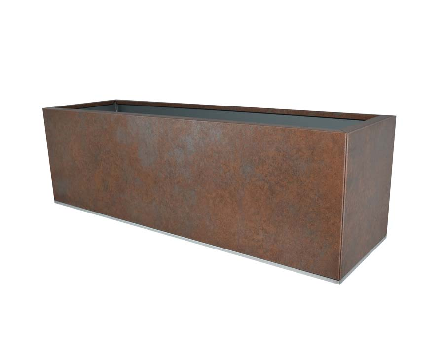 Birdies flat-packed planter 100x30x30 - Weathered Iron finish