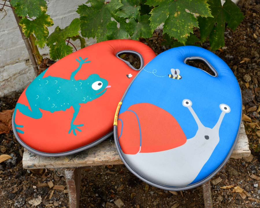 Children's Kneeler Snail and Frog designs - part of the 'Get me Gardening' range by the National Trust