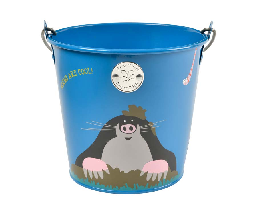 Children's gardening bucket with cute mole on the front by National Trust and Burgon and ball
