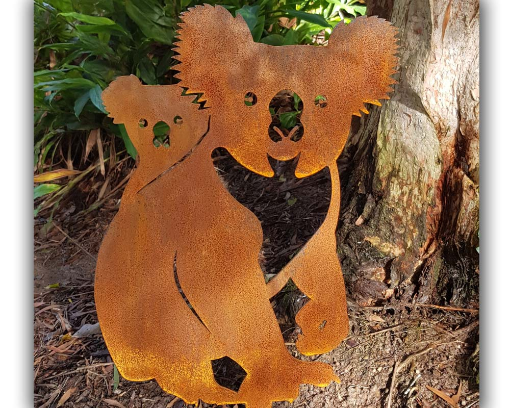 Koala and cub - decorative garden art