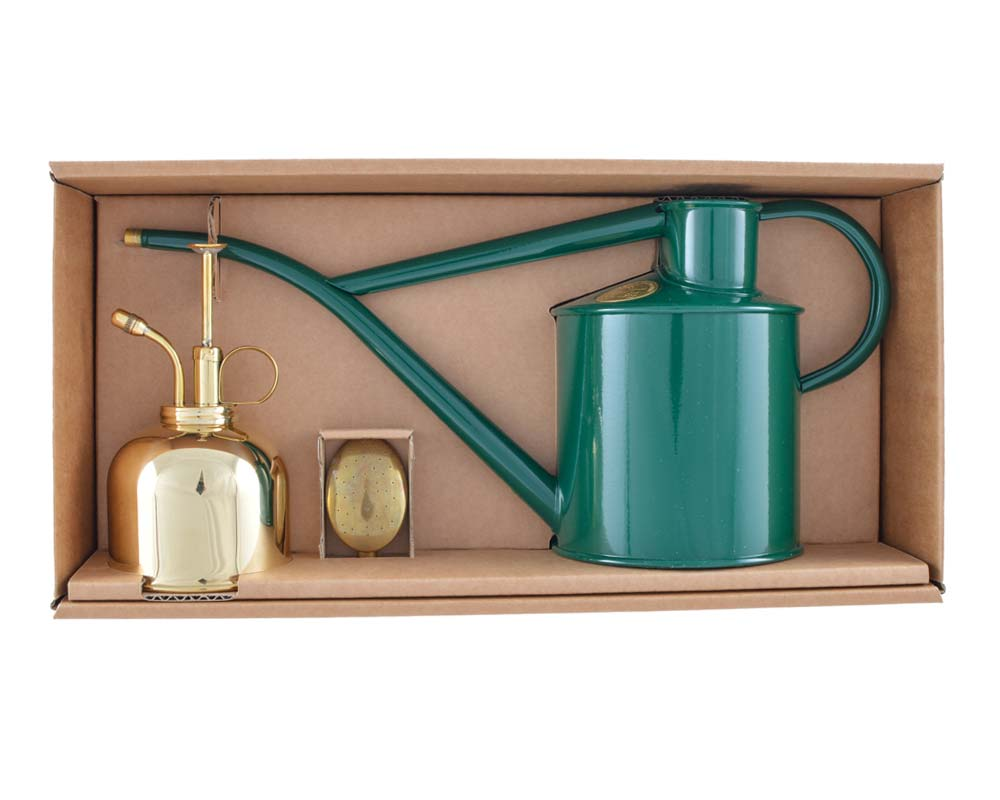 Classic Watering Set - Green Can and Brass Sprayer - Haws