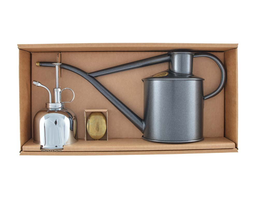 Classic Watering Set - Graphite Can and Nickel Sprayer - Haws