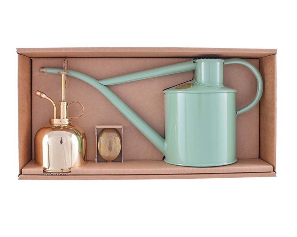 Classic Watering Set - Sage Can and Brass Sprayer - Haws