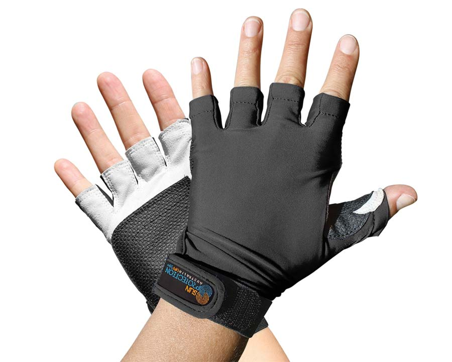 Black - Sports Glove - Fingerless - Sun Protection Australia