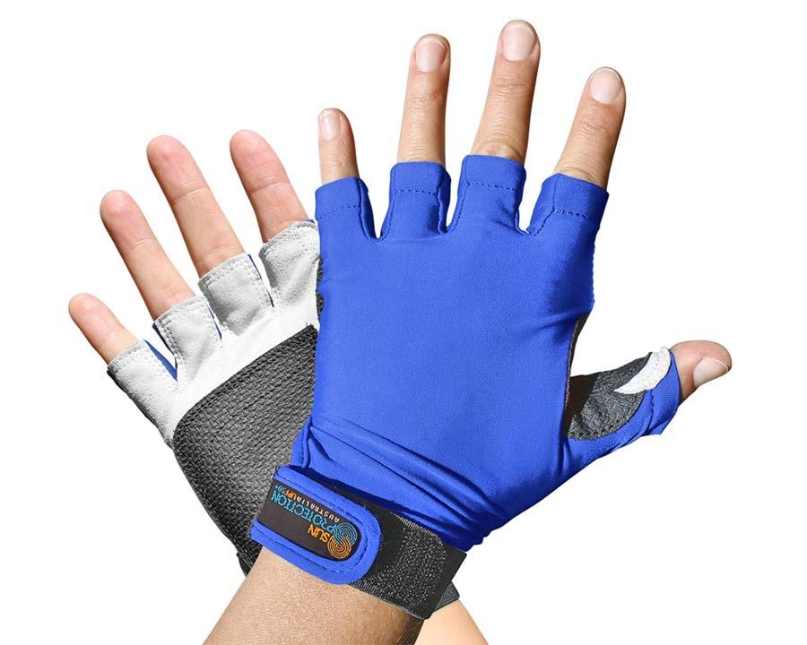 Blue - Sports Glove - Fingerless - Sun Protection Australia