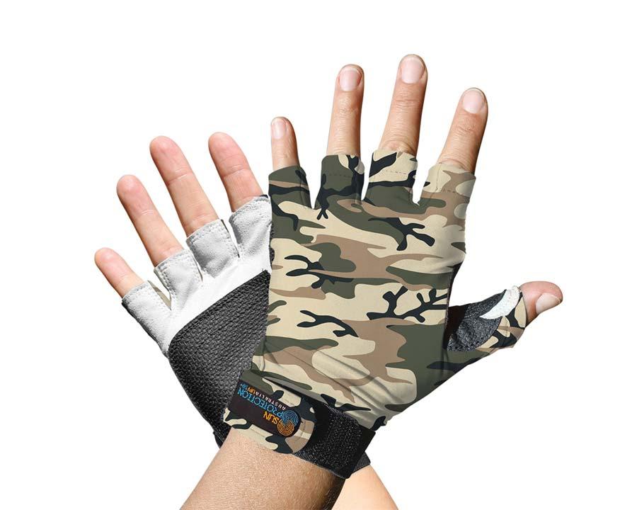 Sand Camo - Sports Glove - Fingerless - Sun Protection Australia