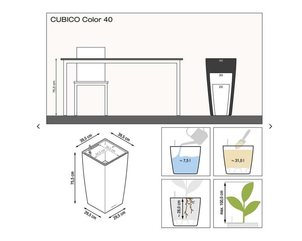 Diagram - Cubico Color 40 - Self-Watering Pot - Lechuza