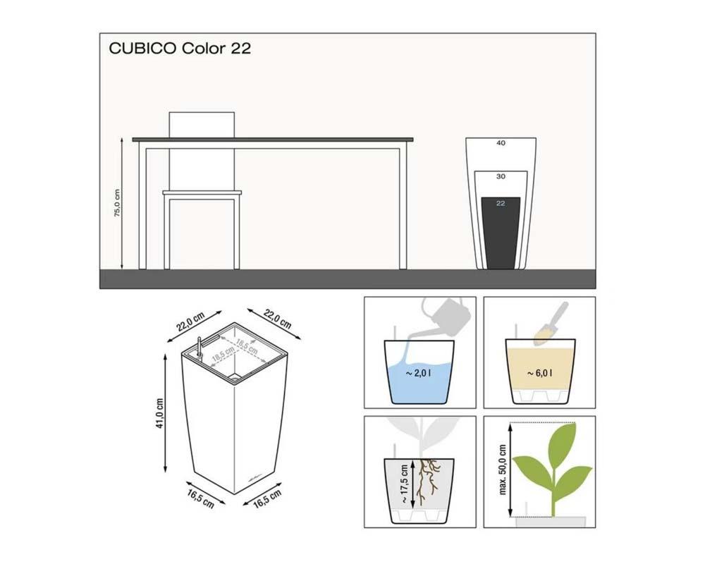 Diagram - Cubico Color 22 - Self-Watering Pot - Lechuza