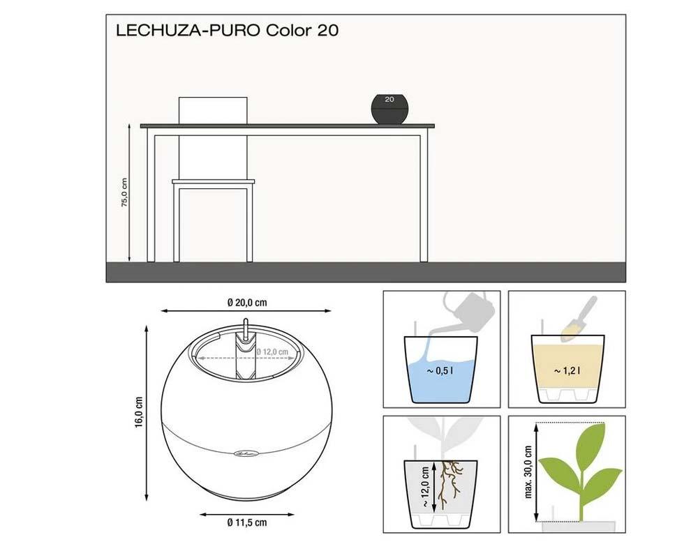 Diagram - Puro Color 20 - Self-Watering Pot - Lechuza
