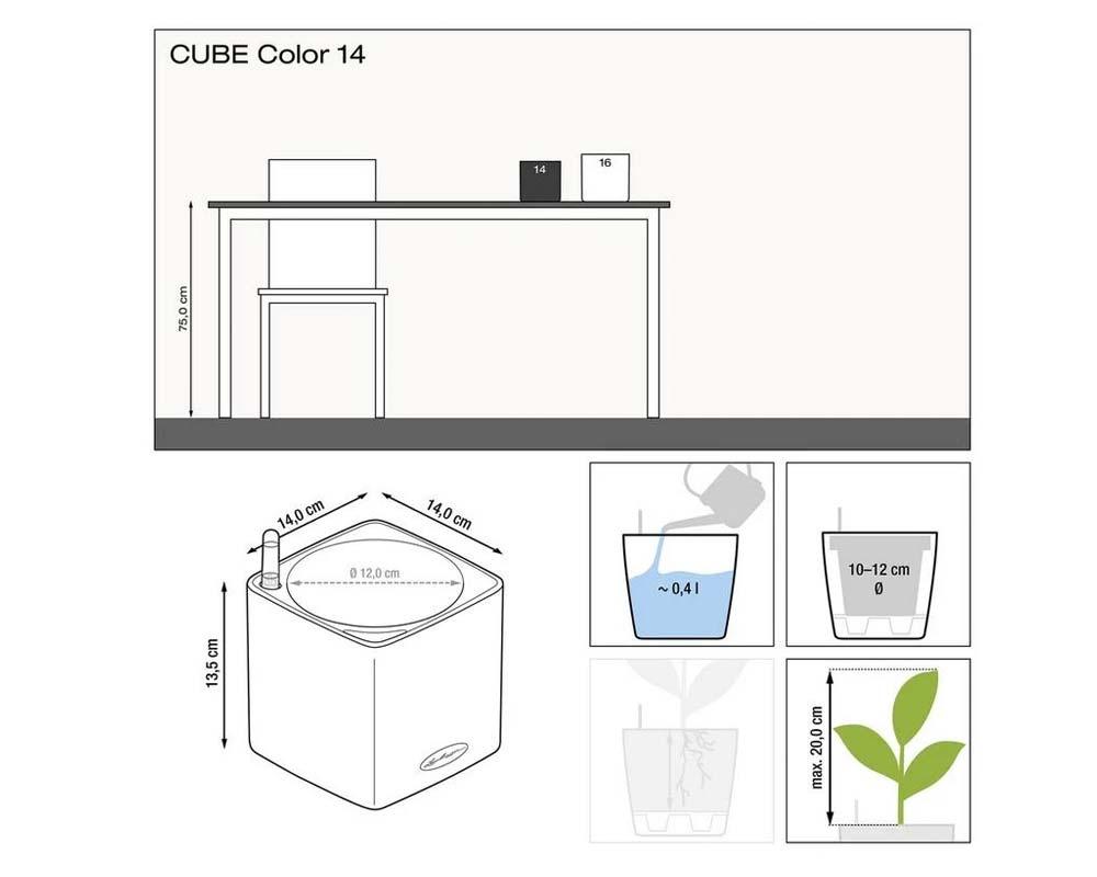 Diagram - Puro Cube Color 14 - Self-Watering Pot - Lechuza