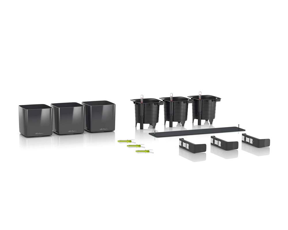 Components - Glossy Cube Triple Wall Planter Kit - Self-Watering Pots - Lechuza