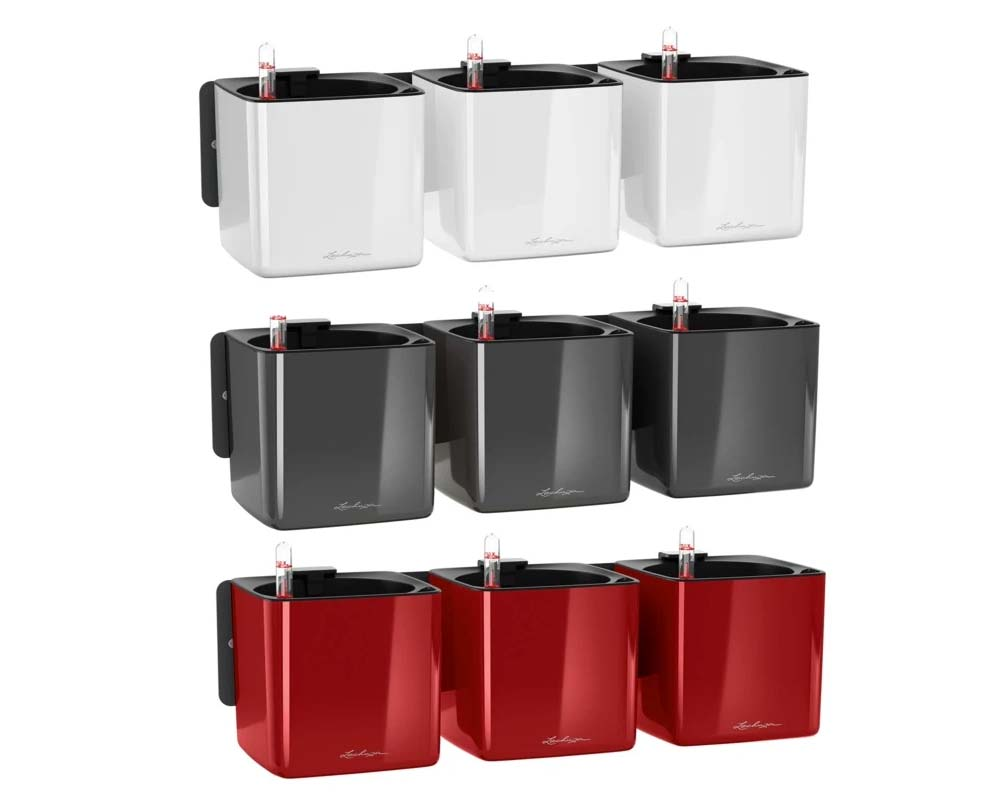 High Gloss White, High Gloss Charcoal and High Gloss Scarlett Red - Glossy Cube Triple Wall Planter Kit - Self-Watering Pots - Lechuza