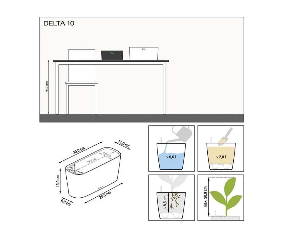 Diagram - Delta 10 Self-Watering Pot - Lechuza