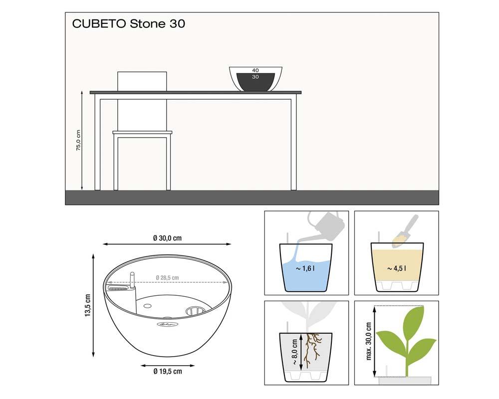 Diagram - Cubeto Stone 30 - Self-Watering Pot - Lechuza