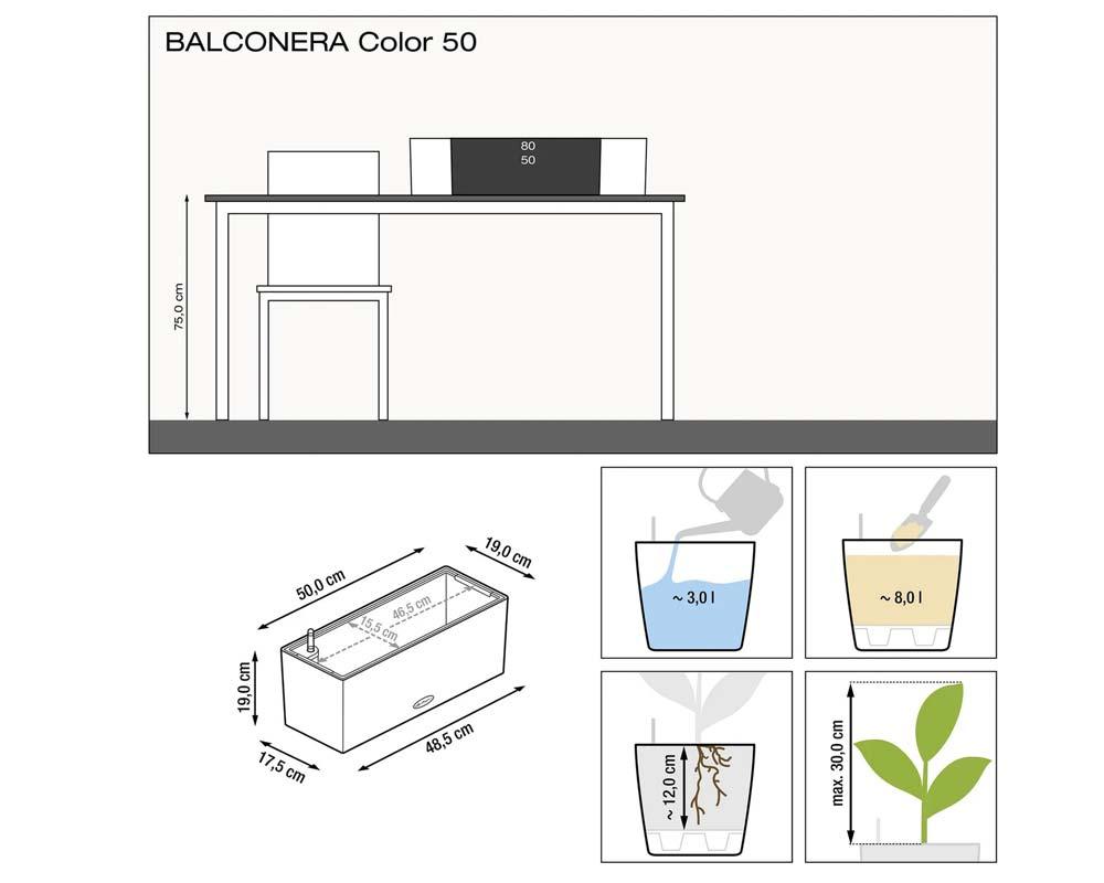 Diagram - Balconera Color 50 - Self-Watering Planters - Lechuza