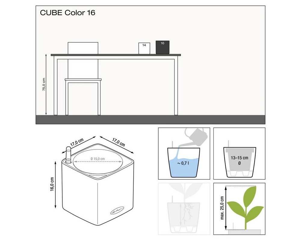 Diagram - Puro Cube Color 16 - Self-Watering Pot - Lechuza