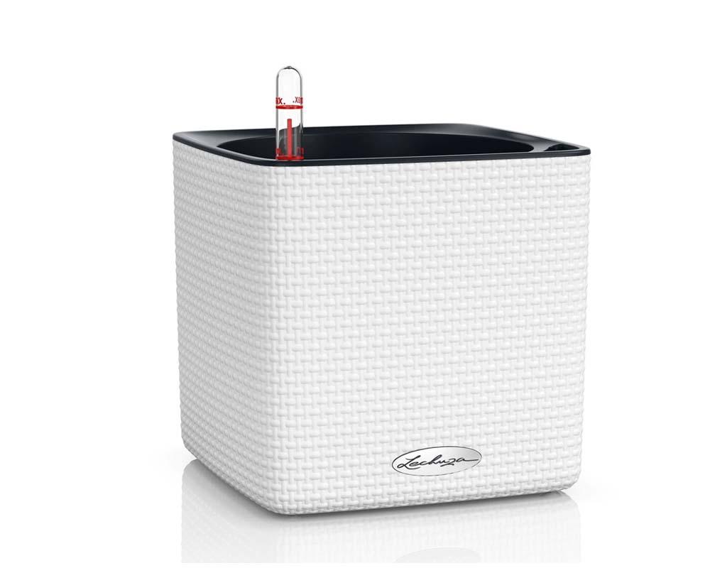 White - Puro Cube Color 16 - Self-Watering Pot - Lechuza