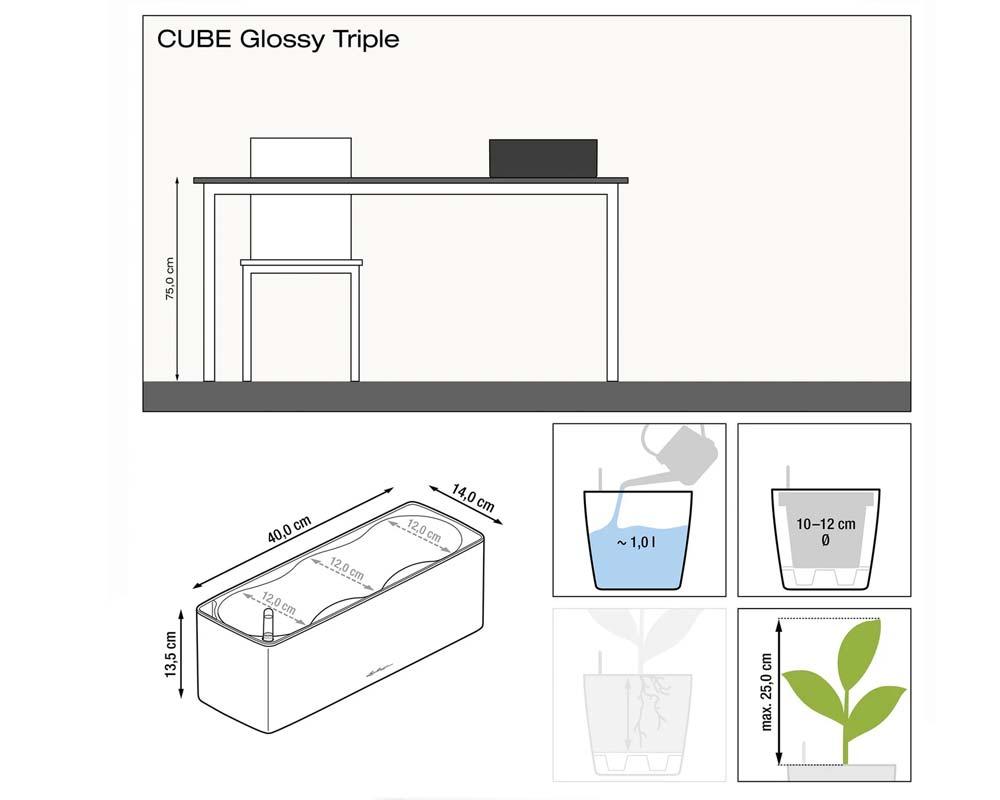 Diagram - Glossy Cube Triple - Self-Watering Pot - Lechuza