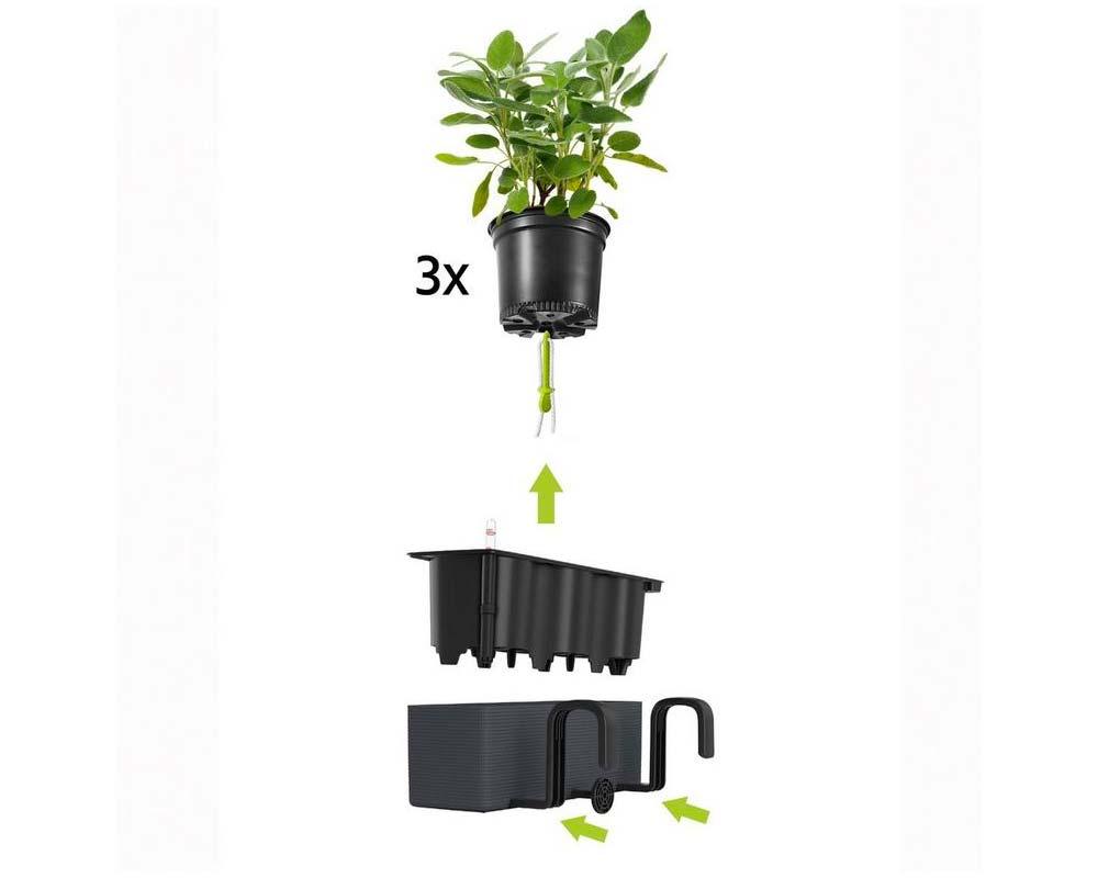 Diagram - Puro Cube Color Triple - Self-Watering Pot - Lechuza