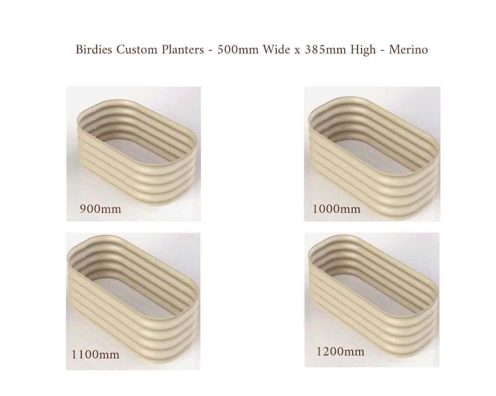 Birdies Custom Planters - 500mm Wide x 385 High - Lengths: 900mm, 1000mm, 1100mm, 1200mm - Merino