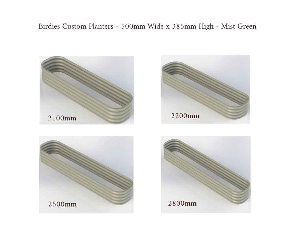 Birdies Custom Planters - 500mm Wide x 385mm High - Lengths: 2100mm, 2200mm, 2500mm, 2800mm - Mist Green