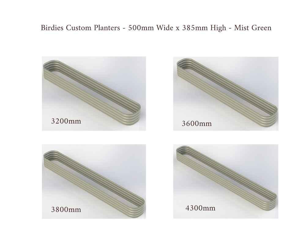 Birdies Custom Planters - 500mm Wide x 385mm High - Lengths: 3200mm, 3600mm, 3800mm, 4300mm - Mist Green