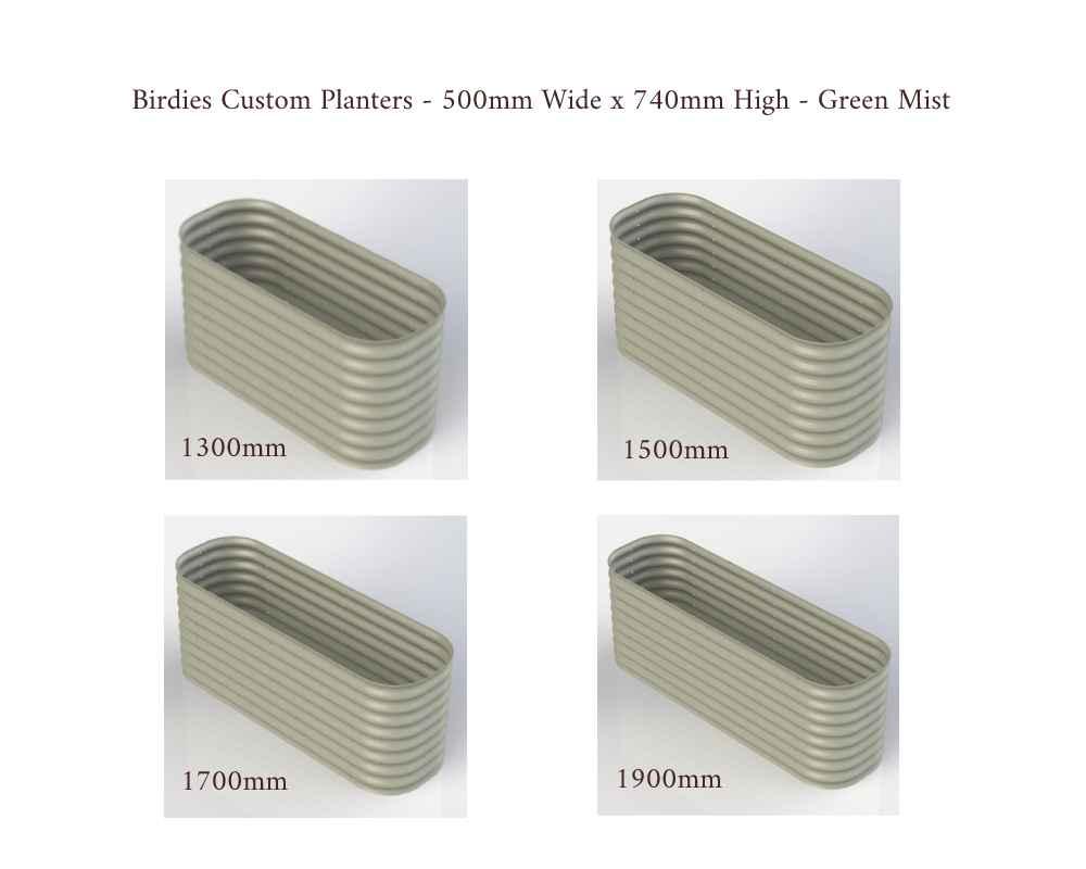 Birdies Custom Planters - 500mm Wide x 740mm High - Lengths: 1300mm, 1500mm, 1700mm, 1900mm - Mist Green