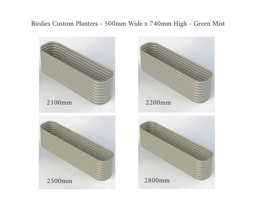 Birdies Custom Planters - 500mm Wide x 740mm High - Lengths: 2100mm, 2200mm, 2500mm, 2800mm - Mist Green