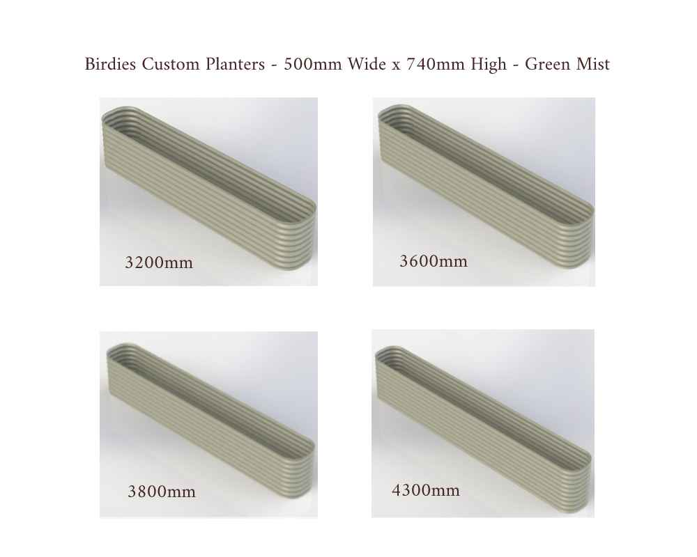 Birdies Custom Planters - 500mm Wide x 740mm High - Lengths: 3200mm, 3600mm, 3800mm, 4300mm - Mist Green