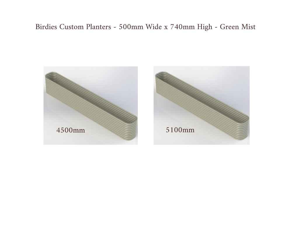Birdies Custom Planters - 500mm Wide x 740mm High - Lengths: 4500mm, 5100mm - Mist Green