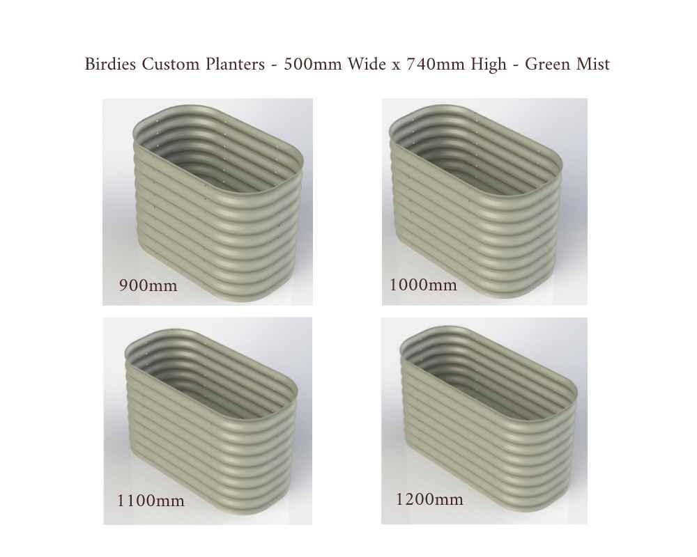 Birdies Custom Planters - 500mm Wide x 740mm High - Lengths: 900mm, 1000mm, 1100mm, 1200mm - Mist Green