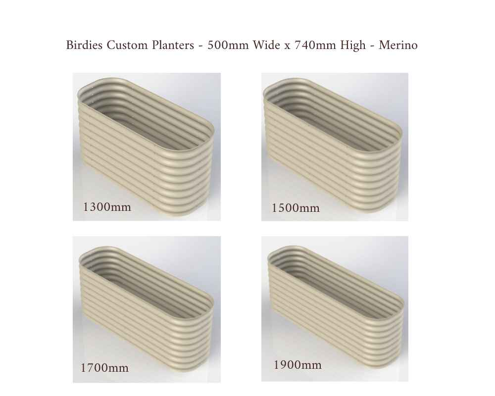Birdies Custom Planters - 500mm Wide x 740mm High - Lengths: 1300mm, 1500mm, 1700mm, 1900mm - Merino