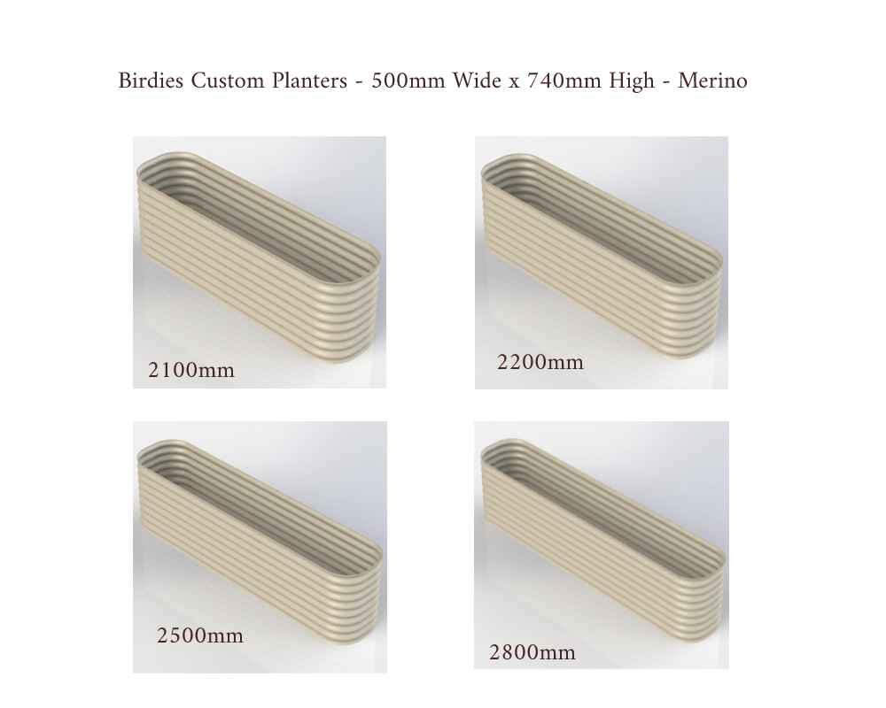 Birdies Custom Planters - 500mm Wide x 740mm High - Lengths: 2100mm, 2200mm, 2500mm, 2800mm - Merino