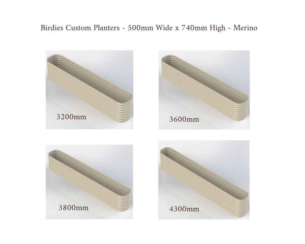 Birdies Custom Planters - 500mm Wide x 740mm High - Lengths: 3200mm, 3600mm, 3800mm, 4300mm - Merino