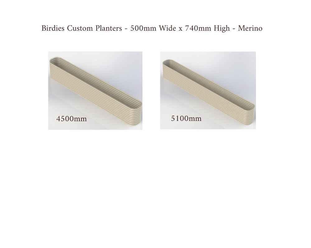 Birdies Custom Planters - 500mm Wide x 740mm High - Lengths: 4500mm, 5100mm - Merino
