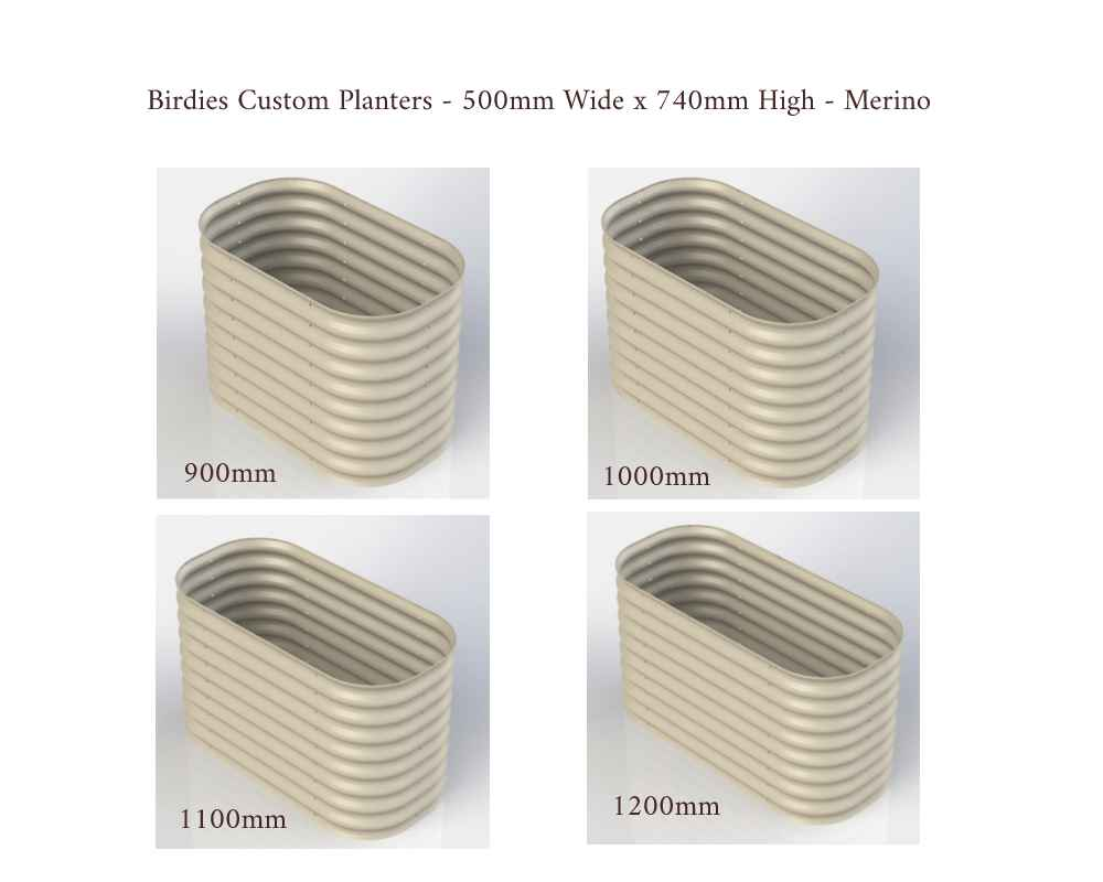 Birdies Custom Planters - 500mm Wide x 740mm High - Lengths: 900mm, 1000mm, 1100mm, 1200mm - Merino