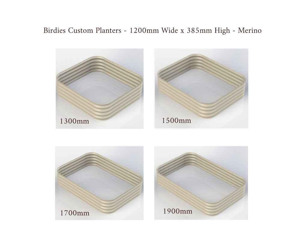 Birdies Custom Planters - 1200mm Wide x 385mm High - Lengths: 1300mm, 1500mm, 1700mm, 1900mm - Merino