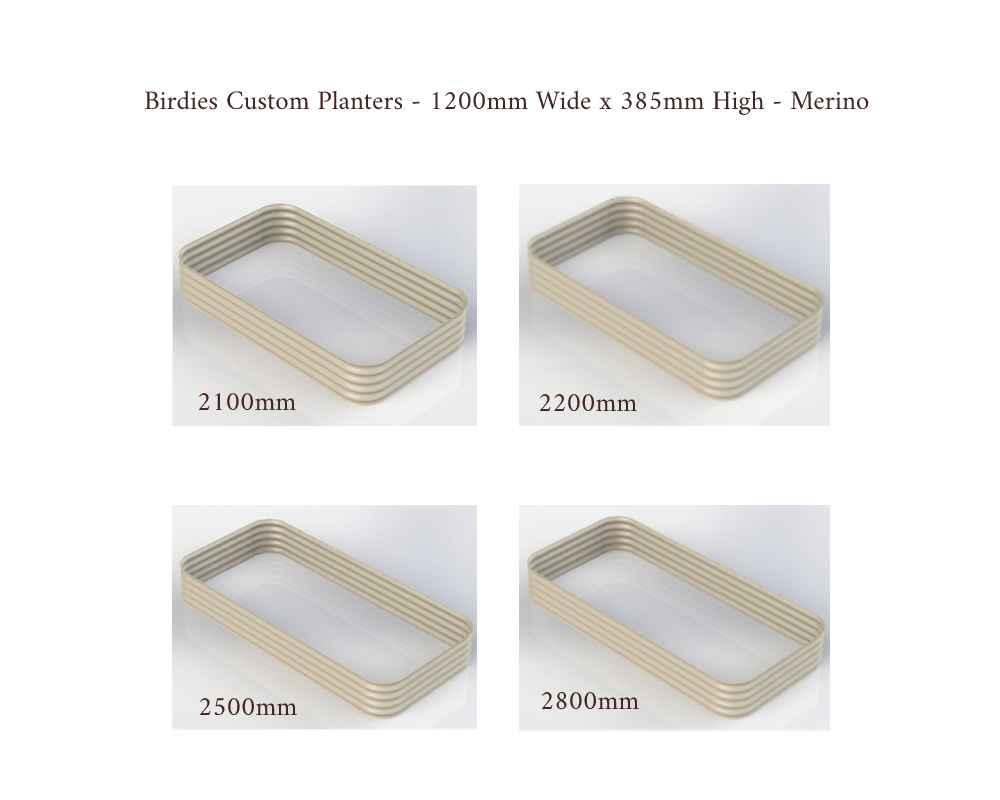 Birdies Custom Planters - 1200mm Wide x 385mm High - Lengths: 2100mm, 2200mm, 2500mm, 2800mm - Merino