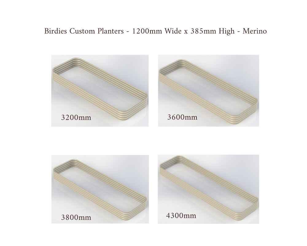 Birdies Custom Planters - 1200mm Wide x 385mm High - Lengths: 3200mm, 3600mm, 3800mm, 4300mm - Merino