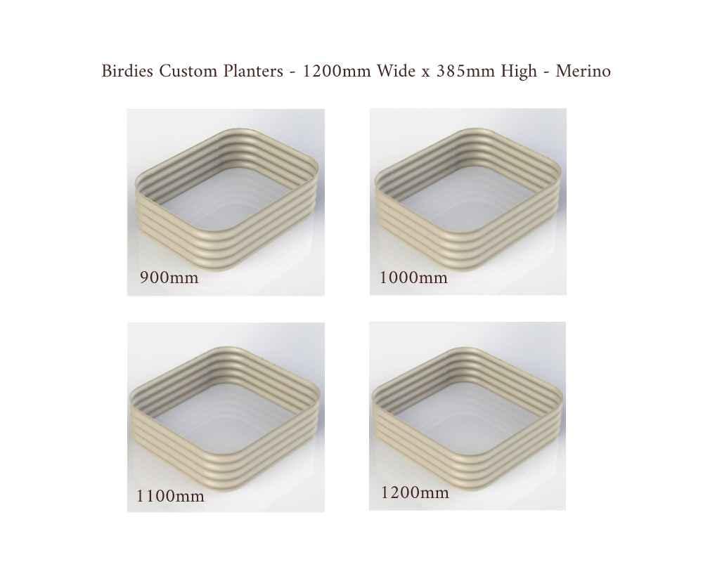 Birdies Custom Planters - 1200mm Wide x 385mm High - Lengths: 900mm, 1000mm, 1100mm, 1200mm - Merino