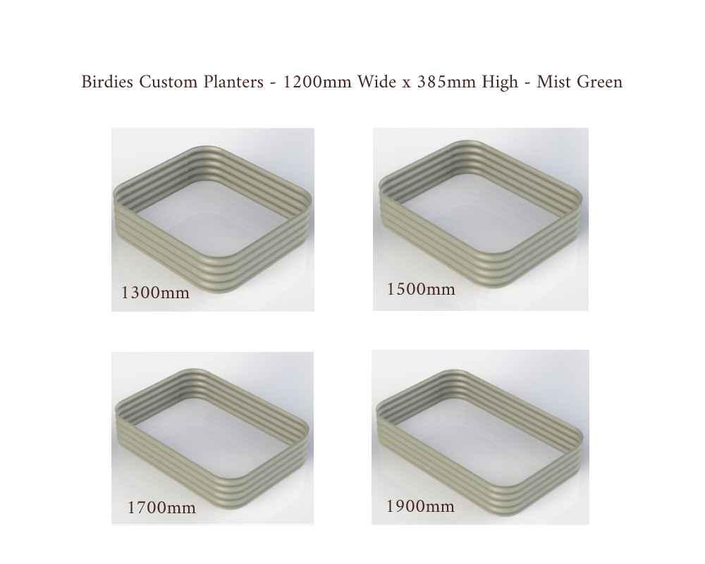 Birdies Custom Planters - 1200mm Wide x 385 High - Lengths: 1300mm, 1500mm, 1700mm, 1900mm - Mist Green